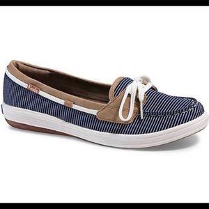 Sz 11 KEDS Glimmer Blue & white  striped boat shoe